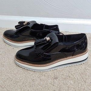 Zara patent derby tassel platform loafers